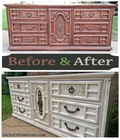 Off White Ornate Dresser - Before & After