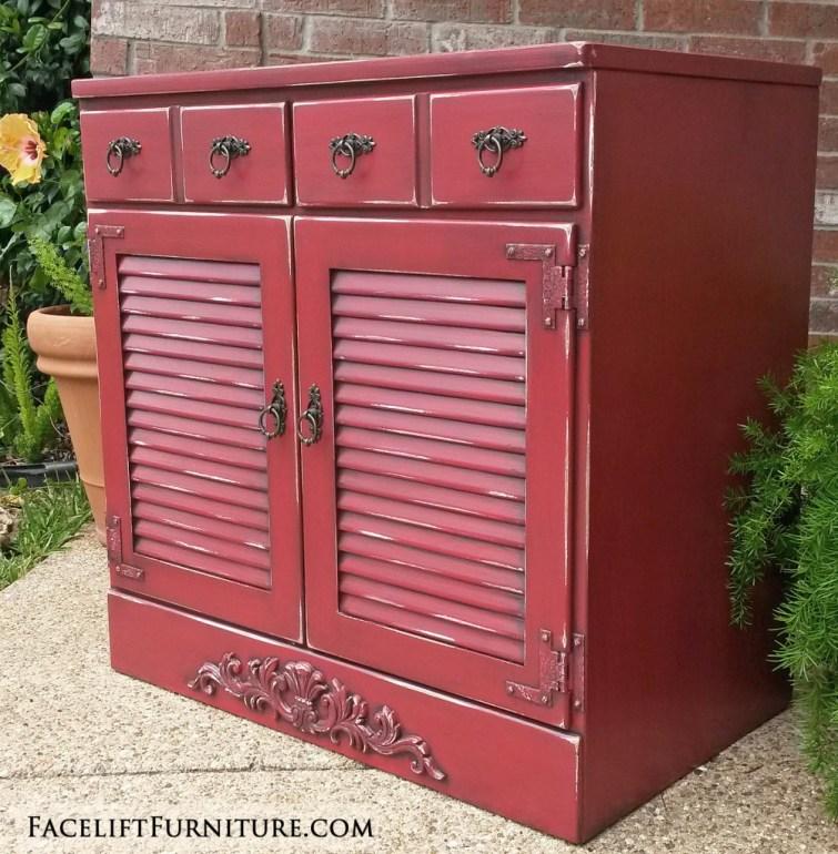 Barn Red Maple Cabinet Ornate FLF