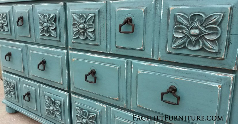 Sea Blue Dresser Ornate FLF