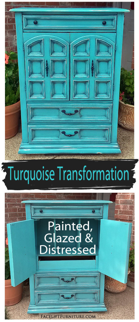 Vintage Armoire Transformed in Turqouise - Facelift Furniture