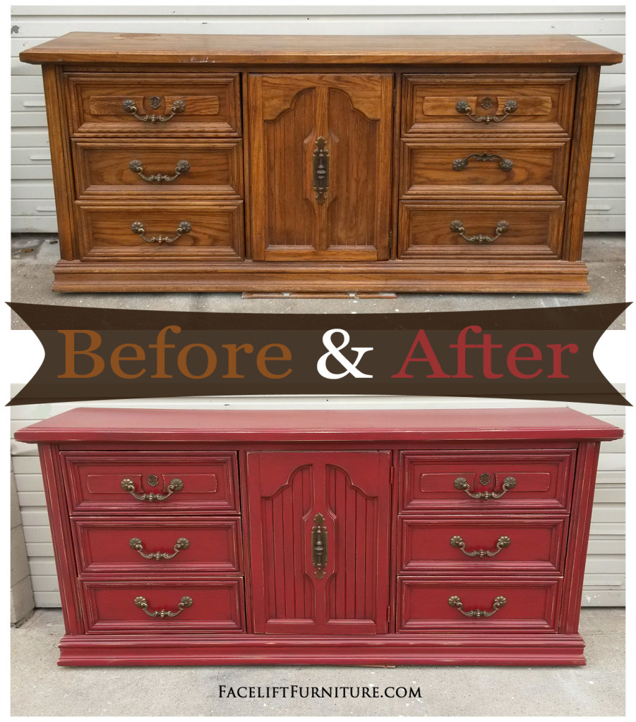 Distressed Barn Red Dresser   Before U0026 After