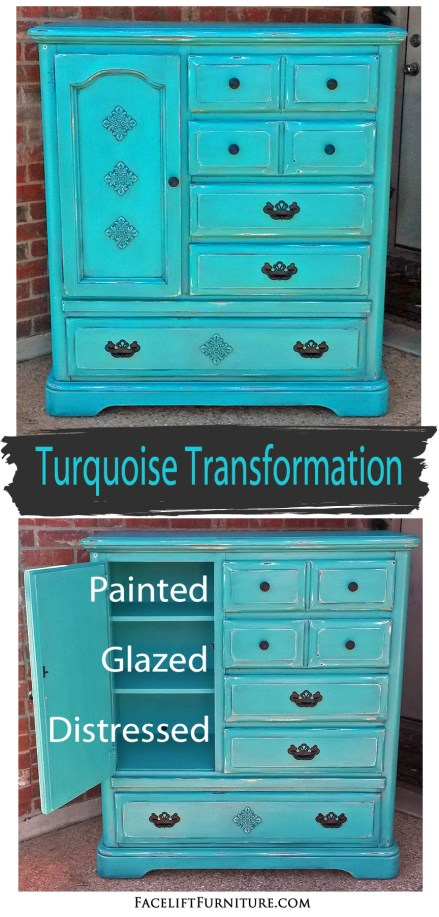 Armoire Chest transformed in Turquoise! From the Facelift Furniture DIY blog.
