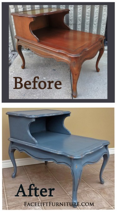 Slate Blue French End Table - Before and After from Facelift Furniture