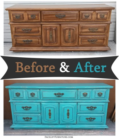 Lg Turquoise Dresser - Before & After