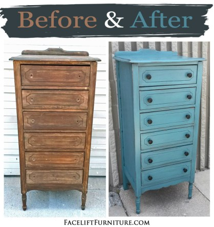 Narrow chest in distressed Sea Blue and Black Glaze - Before & After from Facelift Furniture
