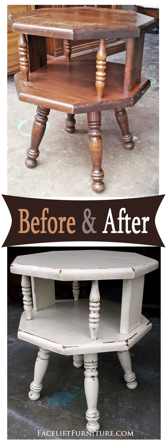 Off White Octogon End Table Before After Facelift Furniture
