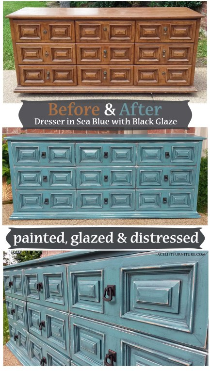 Distressed sea blue dresser with black glaze. Before and after from Facelift Furntiure's DIY Blog