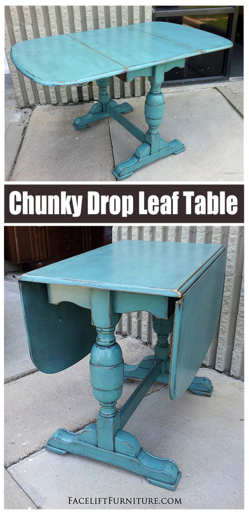 Chunky Sea Blue Drop Leaf Table