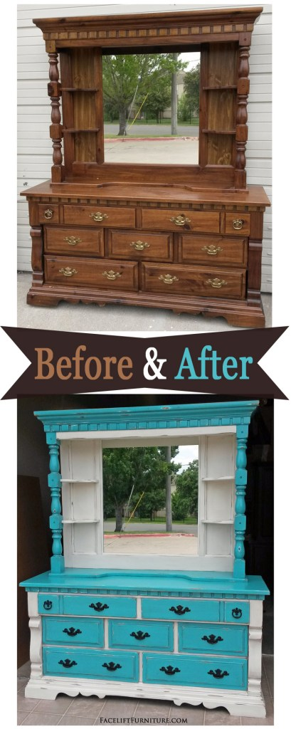 Turquoise dresser with mirror hutch, in turquoise and off white, with black glaze. Before and after from Facelift Furniture's DIY blog.