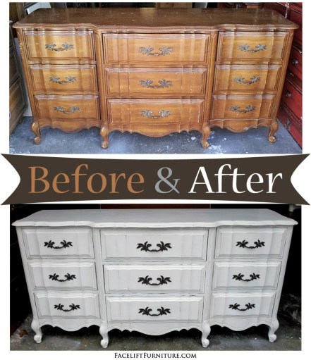 Antiqued White French Dresser - Before & After from Facelift Furniture