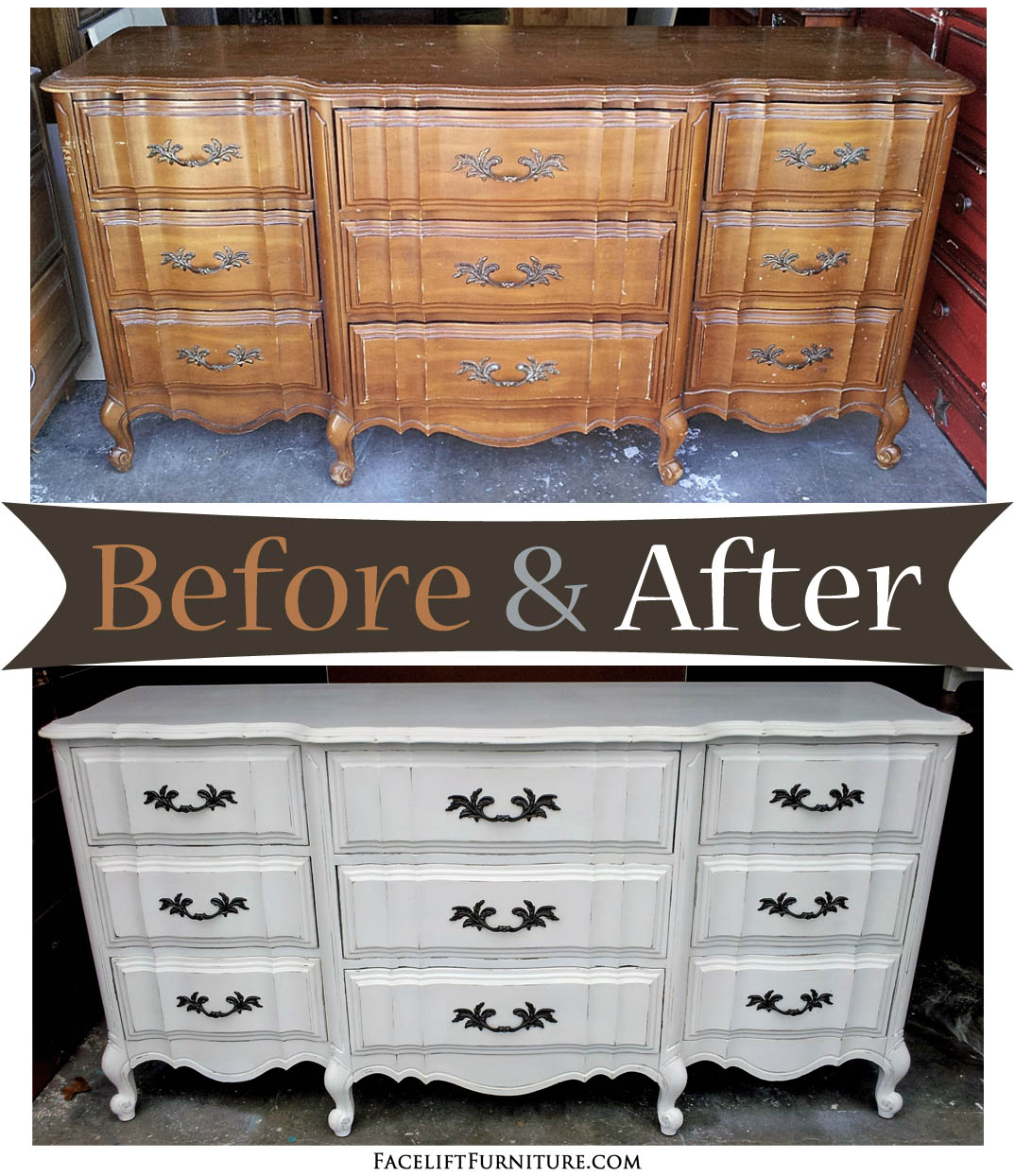 - Antiqued White French Dresser - Before & After - Facelift Furniture