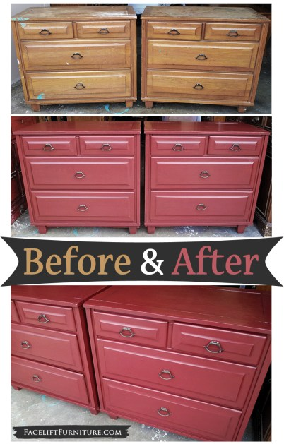 Matching vintate chests in Chili Pepper Red ~ Before and After. Find more painted, glazed & distressed inspiration on our Pinterest boards, or on the Facelift Furniture DIY blog.