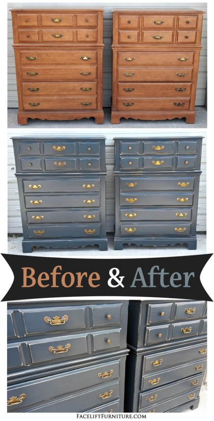 Matching Maple Chests in Distressed Blue Smoke and Black Glaze - Before and After from Facelift Furniture