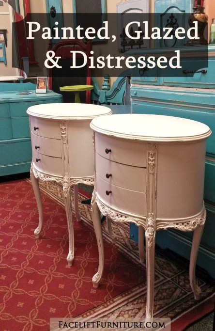 Ornate French Nightstands in distressed Antiqued White - see the Before & After on the Facelift Furniture DIY Blog.