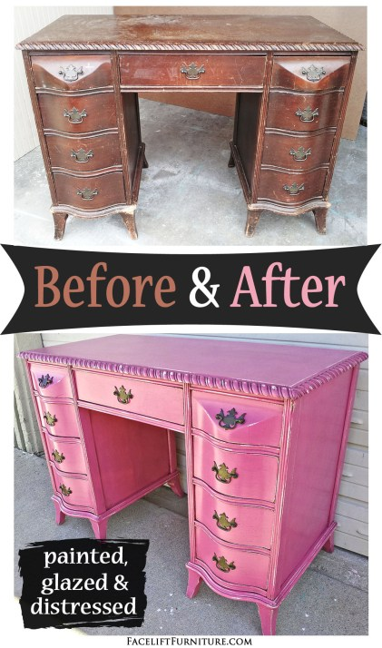 Curvy antique desk in distressed Hot Pink ~ Before & After. Find more painted, glazed & distressed inspiration on our Pinterest boards, or on the Facelift Furniture DIY blog.