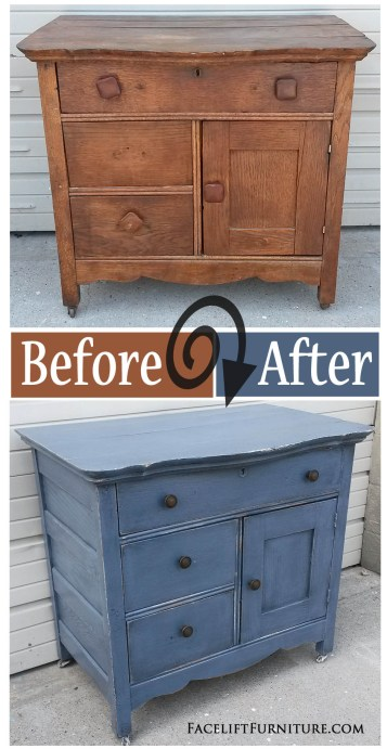 Antique cabinet painted, glazed and distressed in slate blue and black glaze. Before and After from Facelift Furniture.