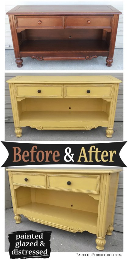 Unique Media Console in Yellow with Black Glaze - Before & After  IF66