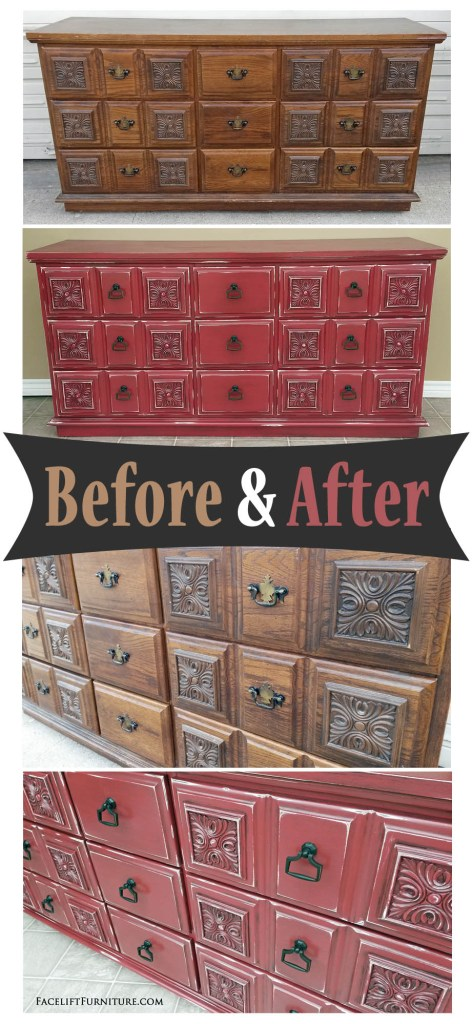 Ornate dresser in Barn Red with Black Glaze. Distressing reveals white primer and original wood tones. From Facelift Furniture's DIY Blog.