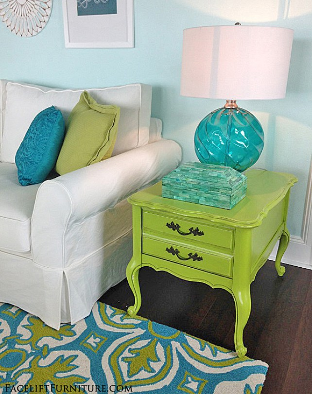 French end table makeover in distressed lime green with black glaze. From the Beach House collection at Facelift Furniture.