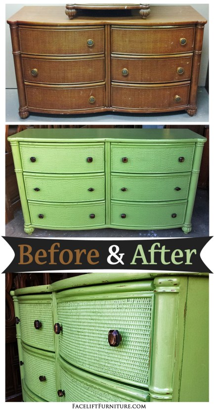 Dresser in Green with Tea Stained Glaze - Before & After from Facelift Furniture