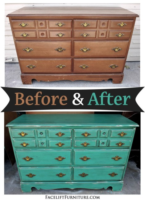 Vintage dresser upstyled in distressed Jade and Black Glaze - Before and After from Facelift Furniture.