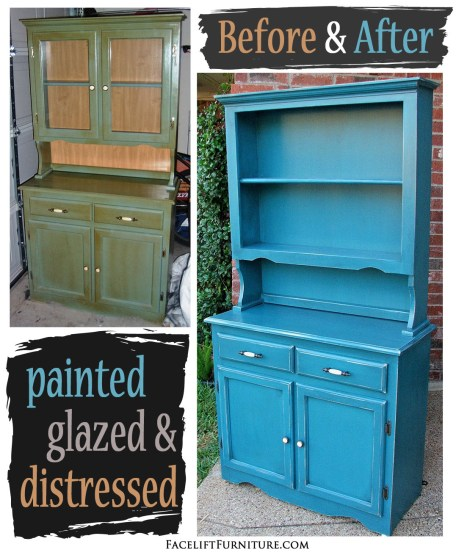 Hutch in distressed Peacock Blue with Black Glaze - Before & After from Facelift Furniture