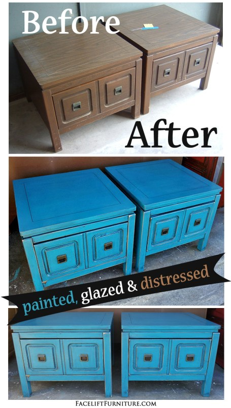 Retro end tables in distressed Peacock Blue with Black Glaze - Before and After from Facelift Furniture