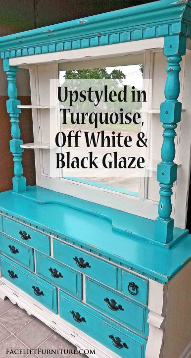 Dresser and Mirror Hutch in distressed Turquoise and Off White, with Black Glaze accenting detailed areas. From Facelift Furniture.