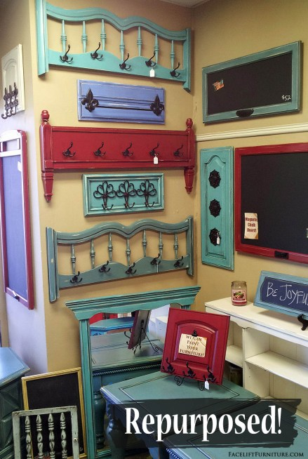Head and footboards repurposed in to coat racks, and cabinet doors repurposed into chalk boards! From Facelift Furntiure's DIY Blog