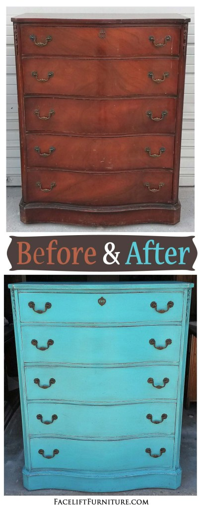 Antique mahogany chest of drawers in Turquoise - Before and After from Facelift Furniture