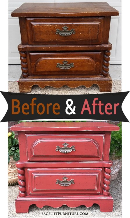 Chunky Nightstand in Distressed Blazing Orange – Before and After from Facelift Furniture's DIY blog