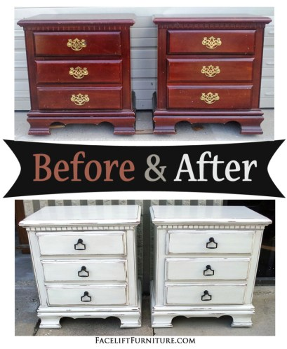 Distressed Antiqued White Nightstand with Tea Stained Glaze - Before & After