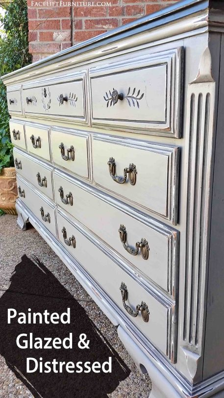 Dresser painted, glazed and distressed in distressed Aspen Gray and Black Glaze. From Facelift Furntiure's DIY Blog