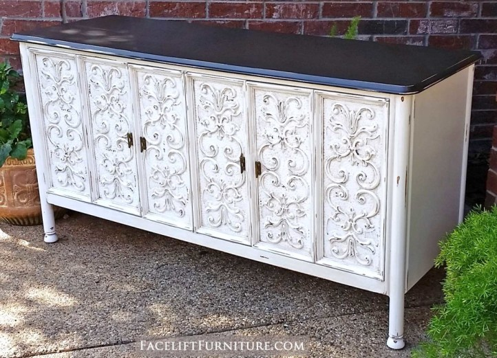 Ornate buffet in distressed Antiqued White with Tobacco Glaze - From Facelift Furniture's DIY Blog