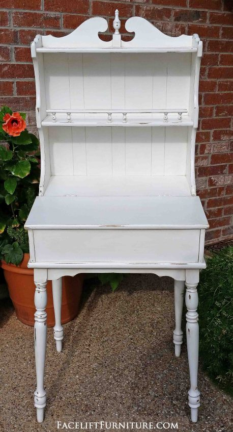 Distressed antiqued white writing desk with hutch - From Facelift Furniture
