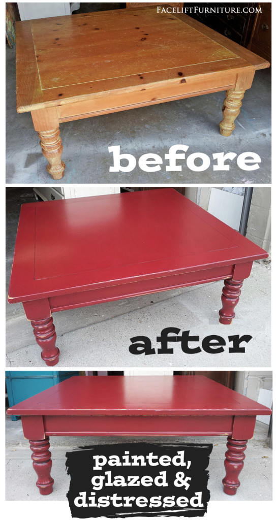 Barn Red Chunky Coffee Table   Before U0026 After