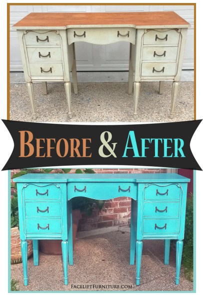 Vanity in Distressed Turquoise with Black Glaze - Before & After from Facelift Furniture