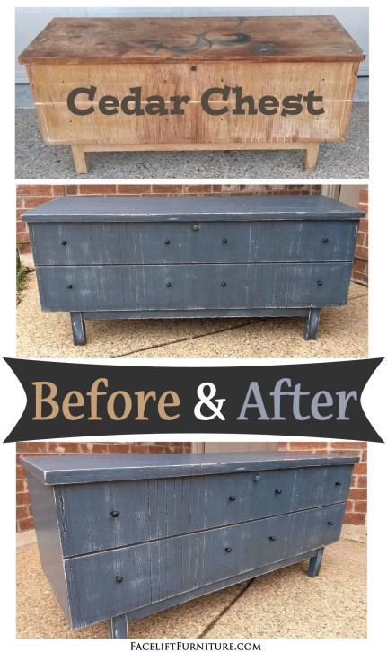 Vintage Cedar Chest Given a New Life in Thundercloud Blue - Before & After from Facelift Furniture