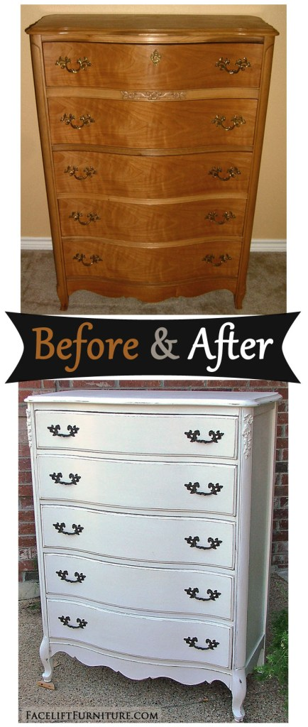 Antiqued White French Chest - Before & After