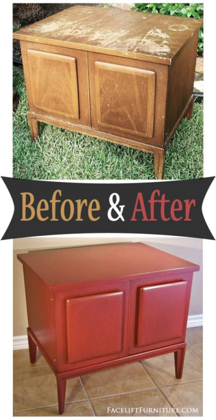 Weary and worn end table given a new life in Chili Pepper Red - Before and After from Facelift Furniture