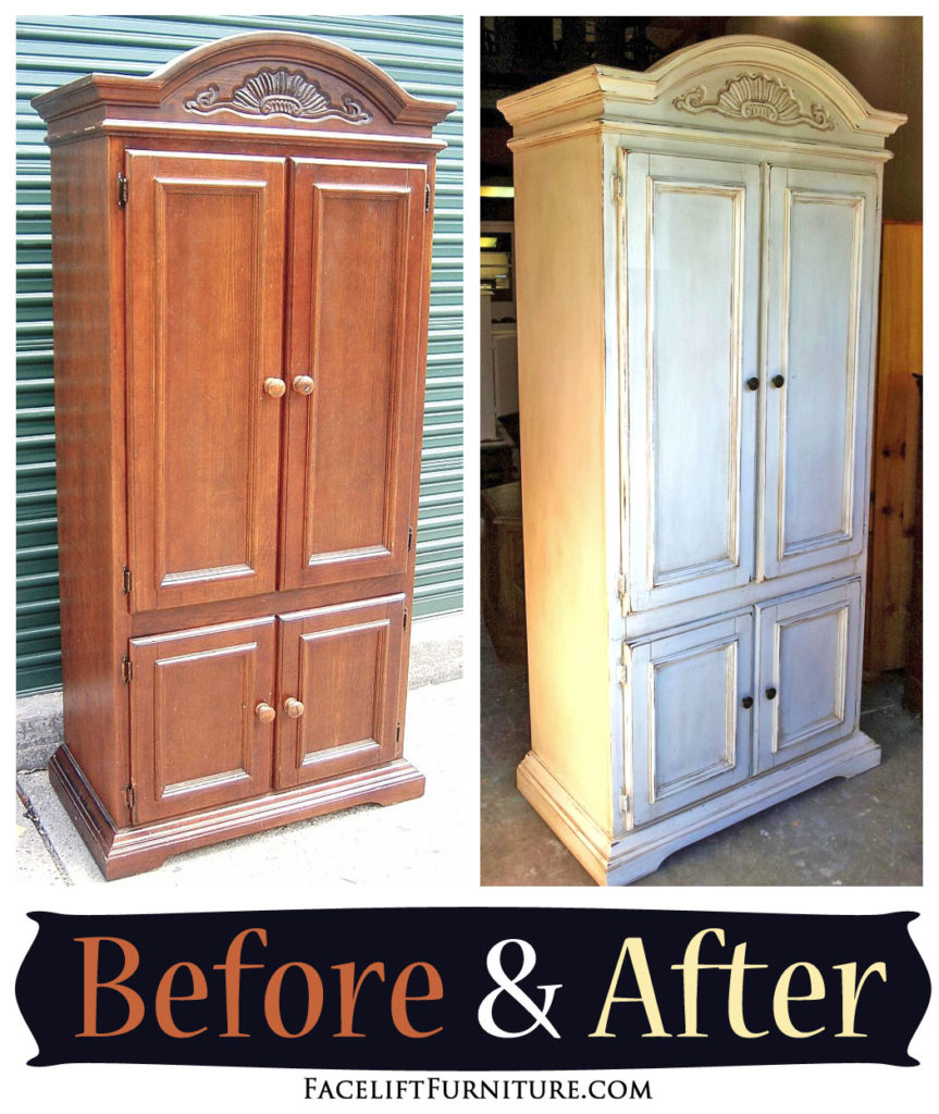 Armoire In Distressed Off White With Tobacco Glaze   Before U0026 After