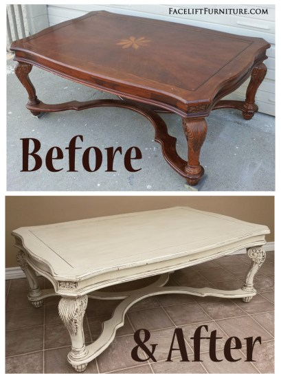 Coffee table given a new life & look in distressed Off White & Tobacco Glaze - Before & After from Facelift Furniture
