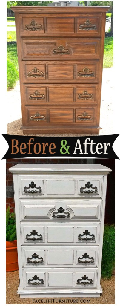 Vintage Chest in Distressed Off White - Before & After from Facelift Furniture