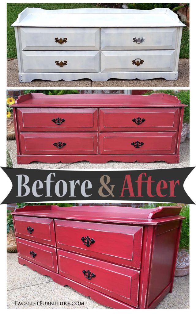 Marvelous Chest In Distressed Barn Red U0026 Black Glaze   Before U0026 After
