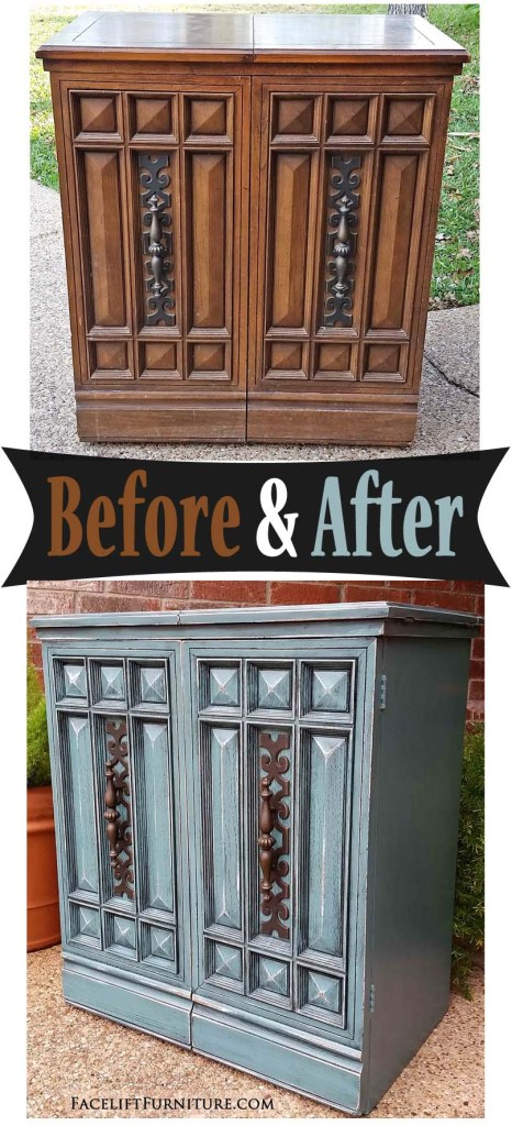 Vintage Sewing Cabinet in Sea Blue & Black Glaze - Before & After from Facelift Furniture