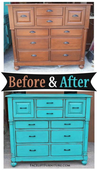 Tall Dresser given a new life in Turquoise - Before & After from Facelift Furniture