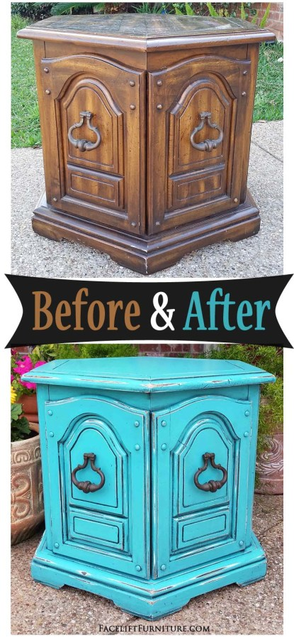 Turquoise Hexagon End Table - Before & After
