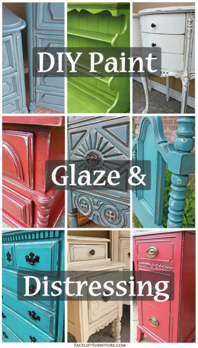 Transform your furniture with paint, glaze and distressing! Great DIY ideas from Facelift Furniture.