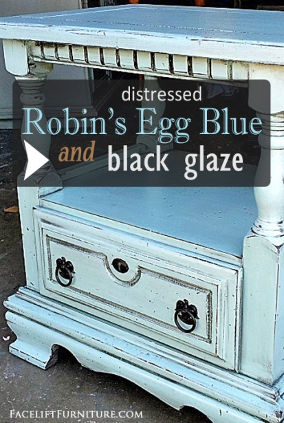 Nightstand upstyled in Robin's Egg Blue and Black Glaze - DIY Inspiration from Facelift Furniture