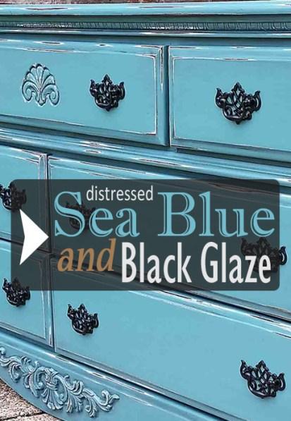 Sea Blue & Black Glaze - Dresser